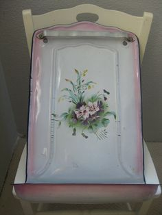 Antique french enamelware with floral design