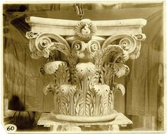 Corinthian Capital. Perfect stone carved example. The scrolls at the top are perfect proportion, if they were half again larger this would be a composite capital.