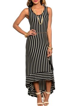 DHStyles Womens Black Cream Classy Pin Stripe Demure Full Length Dress With Rope Chain Belt - Small