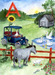 Helmin aapinen kirjain A Alphabet, Helmet, Teaching, Kids, Painting, Art, Watercolor Painting, Young Children, Art Background