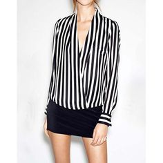 $8.69 Casual Plunging Neck Stripe Irregular Hem Long Sleeves Chiffon Women's Blouse