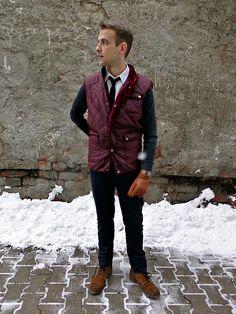 Vest, knit tie, white shirt
