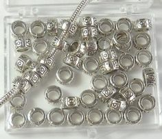 48 Heishi Beads metal spacers 7x4mm with 4mm Hole Antiques Silver Pewter Lead Safe $7.95