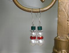 Christmas Snowman Crystal White Red Green Earrings Made With Swarovski Elements