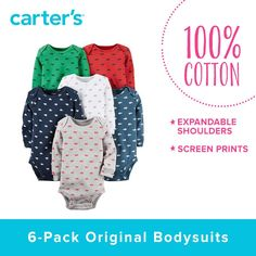 FREE SHIPPING Carter's 6-Pack Carters Infant/Toddler Long Sleeve Onsie's