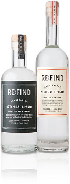 Re:Find Distillery Handcrafted Spirits  in Paso Robles, California takes refuse grape juice from the wine making process and ferments/processes it into vodka and gin like spirits. Dapper packaging too!