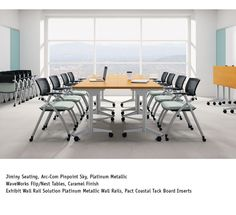 National Office Furniture Waveworks Flip Nest Training Tables With Jiminy Side Guest Seating In Conference Room
