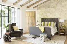 rustic beams and wood accents with modern decor