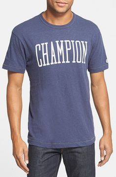 Todd Snyder + Champion Logo Graphic T-Shirt.  Branded by an old-school logo, this garment-washed T-shirt is crafted from slubby pure cotton jersey that ensures superior softness.