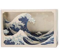 DIY Paper diorama hokusai - The Great Wave off Kanagawa - paper craft - paper art - japanese art Shadow Box Kunst, Shadow Box Art, Kirigami, Hokusai Wave, Katsushika Hokusai, Ocean Diorama, Tunnel Book, Great Wave Off Kanagawa, Art Japonais