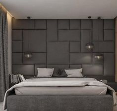 Upholstered wall panels - design for art and/ or cubby insets (behind banquette) Modern Luxury Bedroom, Master Bedroom Interior, Luxurious Bedrooms, Bedroom Wall, Bedroom Furniture, Bedroom Decor, Furniture Nyc, Bedroom Ideas, Wall Decor