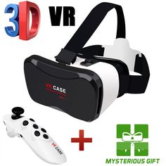 "New 3M Virtual Reality Smartphone VR box 3D Glasses google cardboard Head Mount 3D Movie Game 4-6.3""  VR Case+Control Gamepad"