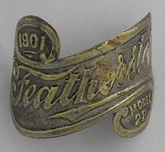 1901 Featherston Bicycle Head Badge bike Name Plate antique original vintage in Collectibles | eBay