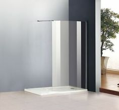 Walk In Shower Enclosure Cubicle Bathroom Curved Glass Screen Stone Tray | eBay