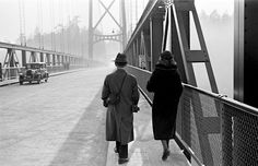 A man and woman walk across the still-relatively-new Lions Gate Bridge, City of Vancouver Archives. CVA Photograph by James Crookall. World Beautiful City, Underwater City, Lions Gate, Stanley Park, Visit Canada, On The Road Again, Photosynthesis, Vintage Photographs, Vintage Photos