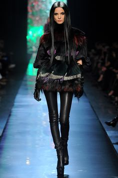 Gaultier, I love everything about this. Her jet black long straight hair, the fur, and the leather pants. LOVEEE