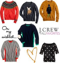I love the three sweaters on the bottom.  The ones with the stripes down the sides are awesome!