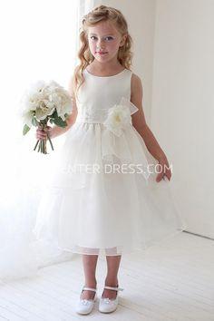 2d3b9b2f65 Sale  65.03-Tea-Length Floral Bowed Appliqued Lace amp Organza Flower Girl  Dress.