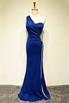 Royal Blue One Shoulder Floor Length Beaded Prom Gown, Prom Dress Evening Party Dress Affordable Evening Gowns, Evening Dresses, Prom Dresses, Classy Evening Gowns, Bridesmaid Dresses, Beaded Prom Dress, Party Dresses For Women, Formal Gowns, Formal Prom