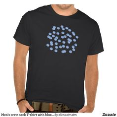 Men's crew neck T-shirt with blue polka dots