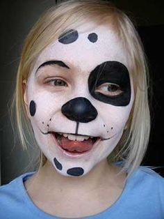 spotty dog without the tongue feature you see so much - simple Deer Halloween Costumes, Halloween Kostüm, Halloween Face Makeup, Face Painting Designs, Body Painting, Dog Face Paints, Square 1 Art, Spotty Dog, Artistic Make Up