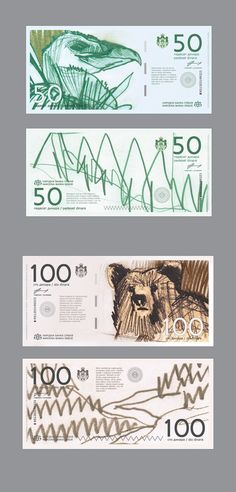 BANCONOTE 50-100 | Pinterest | filigrana.  Mi piace molto l'idea del creatore, uso del colore e illustrazioni