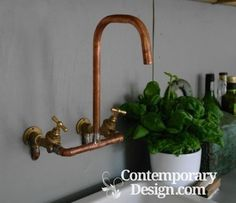 Be inventive with copper piping. #copperfaucets #copperdecor #decortips