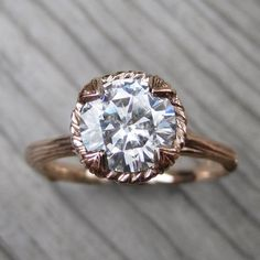 Items similar to Moissanite Twig Engagement Ring: Carved Floral setting, Colorless 1.5ct Forever One ™ on Etsy