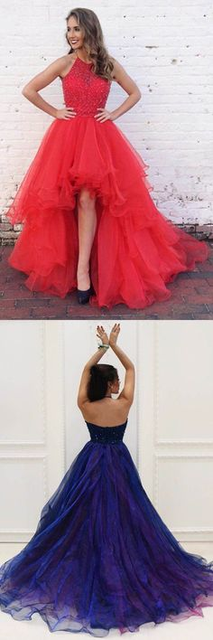 High Low Prom Dresses Princess, Halter Formal Dresses Red, Organza with Beading Asymmetrical Evening Party Gowns Backless