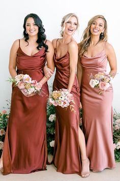 Champagne Bridesmaid Dresses, Bridesmaid Dress Colors, Bridesmaids And Groomsmen, Fall Wedding Bridesmaids, Different Bridesmaid Dresses, Modern Bridesmaid Dresses, Pink Bridesmaids, Satin Dresses, Satin Wedding Dresses