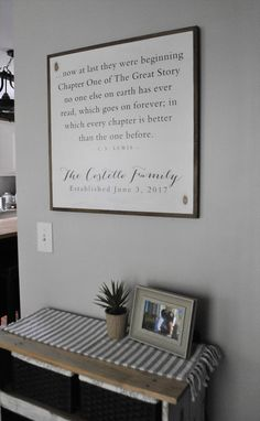 A NEW CHAPTER personalized family sign 2'X2' | C.S. Lewis quote | distressed painted wall decor | shabby chic farmhouse | framed wall art by ThePeddlersShed on Etsy