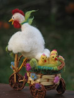 Needle felted white chicken giving a ride to her door Made4uByMagic