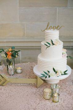 Elegant minimalist wedding cake with greenery --- pinned by SheerEverAfter.wordoress.com