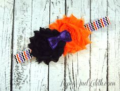 Buy Halloween Shabby Headband for Infants and Toddlers on Chevron Elastic by piperandlilith. Explore more products on http://piperandlilith.etsy.com