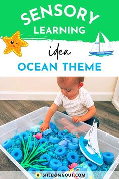 Looking for a fun easy activity to do with your baby or toddler at home this summer? Here is an easy Summer Ocean-Themed Sensory Bin Activity to try out with your little one. This activity is easy to clean up and offers a unique way to learn and have fun at home. Sensory Bins are great ways for your children to learn, explore, develop fine motor skills, problem-solve, have independent play, and use their imagination. Fun Activities For Toddlers, Sensory Activities, Infant Activities, Toddler Playroom, Toddler Fun, Toddler Stuff, Sensory Bins, Sensory Play, Lego Party Favors