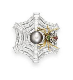 A DIAMOND, PEARL AND MULTI-GEM SPIDERWEB BROOCH