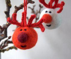 Christmas ornament felt Reindeer Rudolph  red antler by astashtoys, $8.00