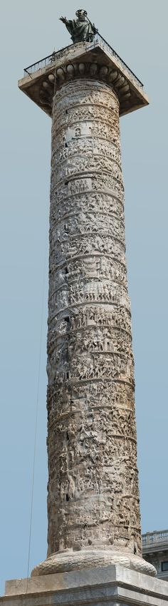 Column of Marcus Aurelius in Rome, in Piazza Colonna. Modeled on Trajan's Column, it depicts the story of Marcus Aurelius' Danubian wars. http://thehistoryofrome.typepad.com/the_history_of_rome/page/2/
