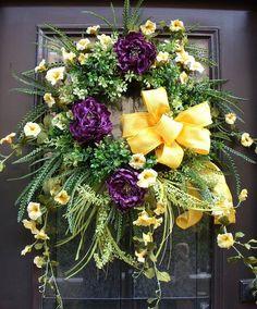 Door Wreaths, Summer Wreath, Morning Glory and Peony Door Wreath, Purple and Yellow via Etsy