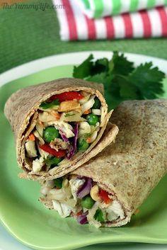 Crunchy Thai Slaw for a salad or wrap. Healthy and make-ahead convenience. TheYummyLife.com
