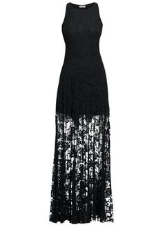 Vestido Longo Renda Preto - Quintess