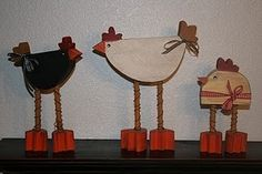 cute wooden chickens