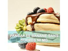 Recette pancakes sains à la banane. Pancakes healthy sans sucres ni matières grasses gonflés, pancakes moelleux et épais healthy
