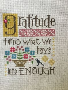 Completed Cross Stitch Lizzie Kate Gratitude | eBay