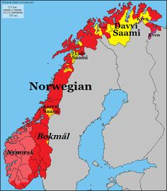 Linguistic map of Norway