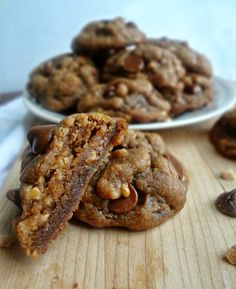 Toffee and Milk Chocolate Peanut Butter Cookies. Gluten-free. Always good to have a gluten-free dessert in my repertoire.