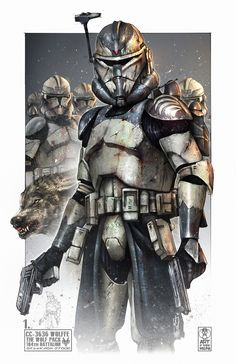 The Wolfpack was a clone trooper squad in the Grand Army of the Republic's 1 - Star Wars Clones - Ideas of Star Wars Clones - The Wolfpack was a clone trooper squad in the Grand Army of the Republic's Battalion that served under Jedi General Plo Koon and Star Wars Characters Pictures, Star Wars Pictures, Star Wars Images, Star Wars Fan Art, Star Wars Concept Art, Star Wars Clone Wars, Star Wars Rpg, Guerra Dos Clones, Tableau Star Wars