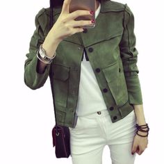Cheap women down coat, Buy Quality coat long women directly from China coat pink Suppliers: Chaquetas Mujer 2017 Spring New Retro Military Green Jacket Fashion Casual Suede Outerwear Coats Women Jaqueta Feminina Tops Bomber Jacket, Trench Jacket, Basic Shorts, Casual Shorts, Coats For Women, Jackets For Women, Short Jackets, Outerwear Women, Outfits