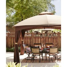 Shop allen + roth Brown Rectangle Screened Gazebo (Foundation: 10-ft x 12-ft) at Lowes.com