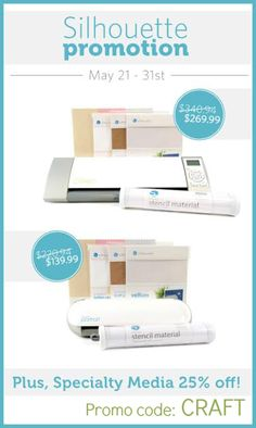 Scroll down to enter the Silhouette CAMEO giveaway!  Want to know about Silhouette's latest promotion? I have all the details for you right here! Silhouette Promotion Silhouette has some awesome Specialty Media products that are super fun to